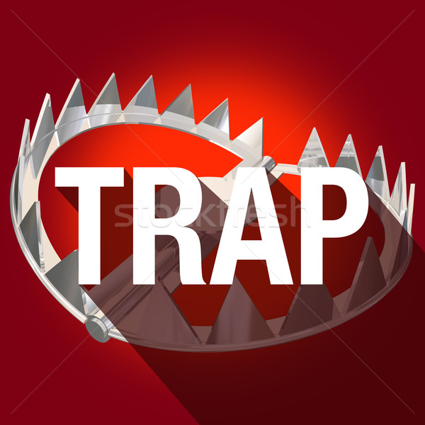 Stock photo: Steel Bear Trap Long Shadow Word Caught Danger Risk Warning