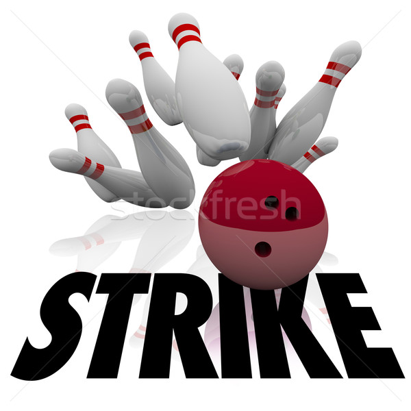 Strike Bowling Ball Pins Word Win Game Stock photo © iqoncept