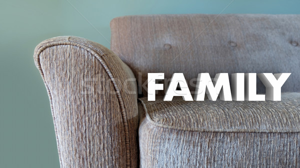 Family Couch Home Comfort Living Room Word 3d Illustration Stock photo © iqoncept