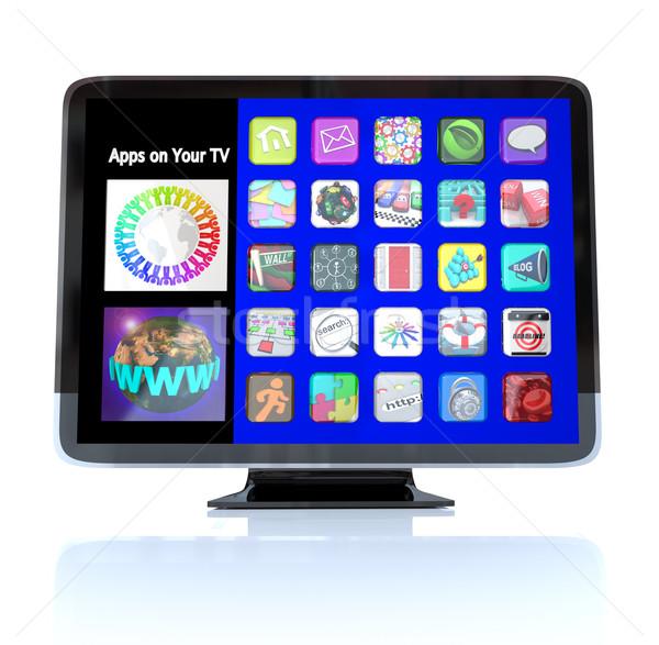 приложения икона плитки высокое разрешение телевидение hdtv Сток-фото © iqoncept