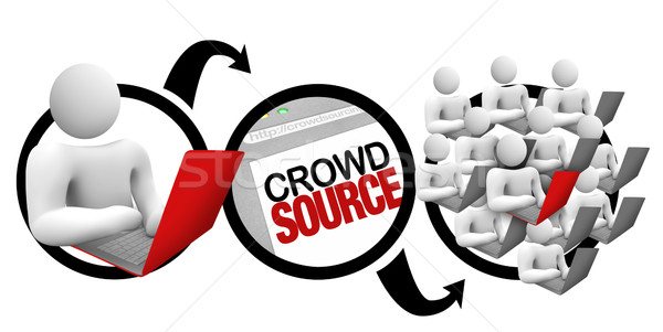 Crowdsourcing diagramme foule source projet personne Photo stock © iqoncept