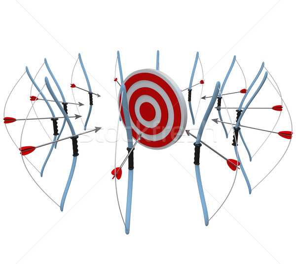 Many Bows and Arrows Aiming at One Target in Competition Stock photo © iqoncept