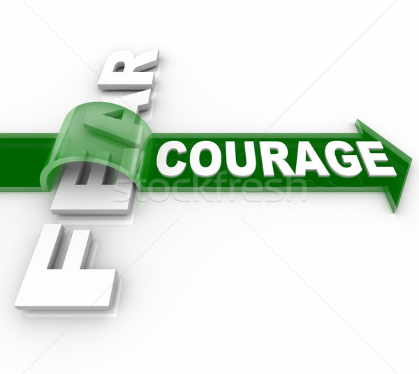 Brave Courage Overcoming Fear Bravery Vs Afraid Stock photo © iqoncept