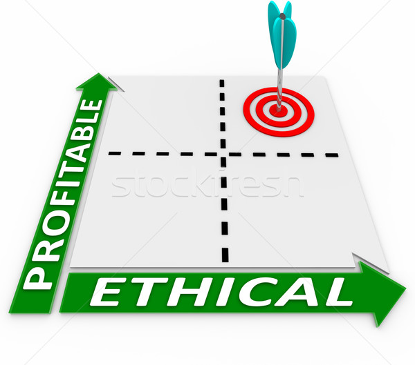 Ethical Vs Profitable Matrix Ethics and Profits Converge Stock photo © iqoncept