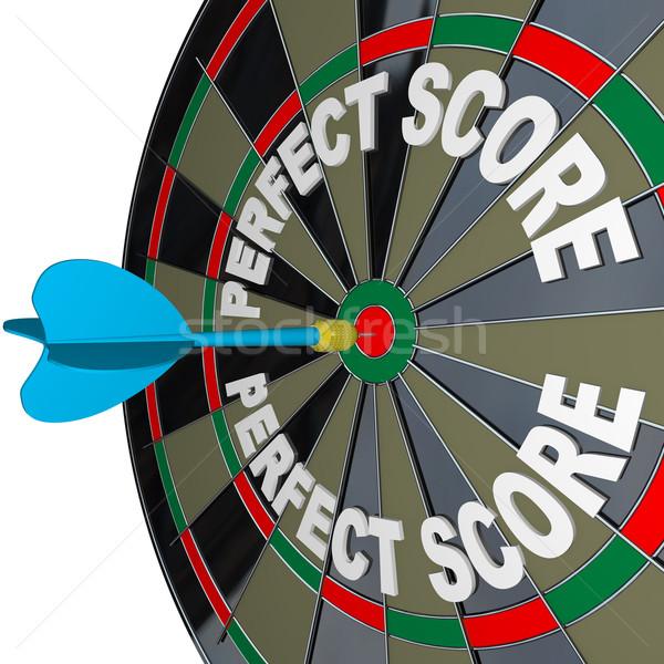 Tökéletes pontszám szavak darts darts tábla nyertes Stock fotó © iqoncept