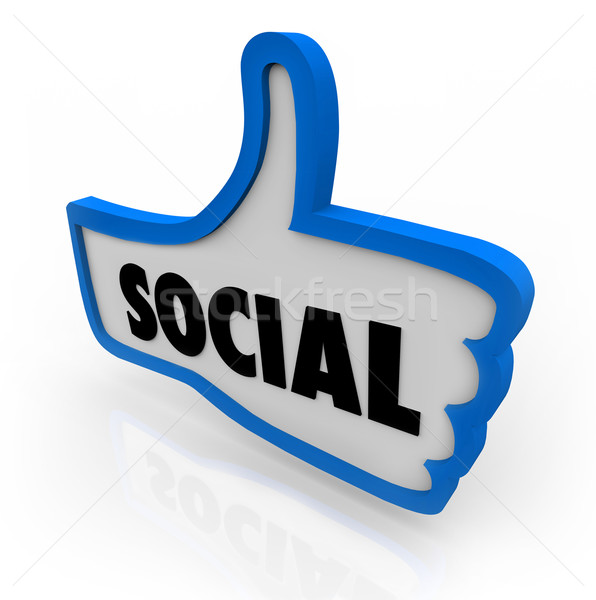 Social Blue Thumb's Up Symbol Network Communication Stock photo © iqoncept