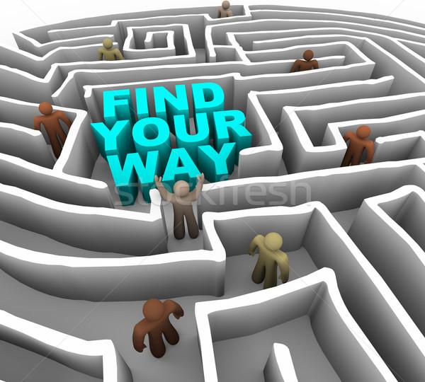 Talál út labirintus sok emberek mély Stock fotó © iqoncept