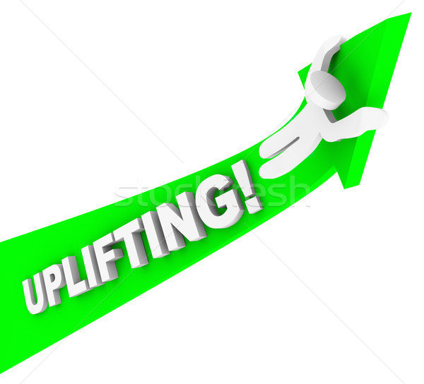 Uplifting Word Person Riding Arrow Achiving Higher Success Stock photo © iqoncept
