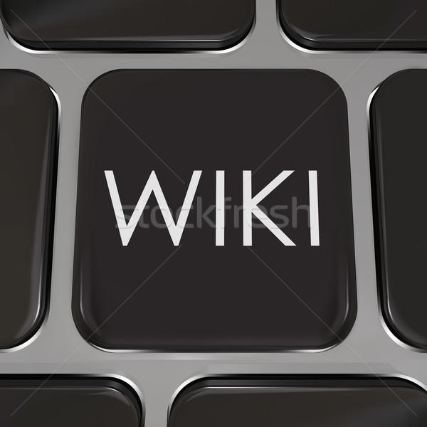 Stock fotó: Wiki · számítógép · kulcs · weboldal · gomb · információ