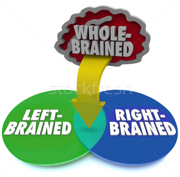 Stock photo: Left Right Brain Dominant Venn DIagram Whole Brained