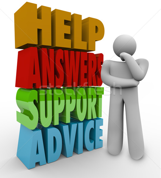 Help Answers Support Advice Thinking Man Beside Words Stock photo © iqoncept