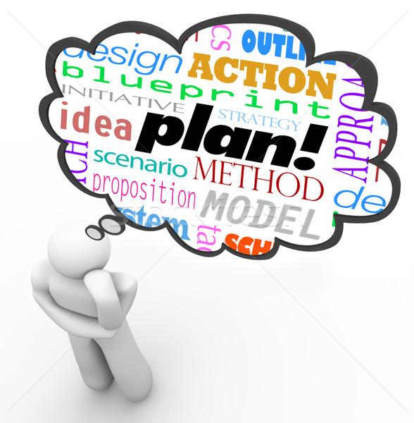 Planning strategie denker dacht wolk verbeelding Stockfoto © iqoncept