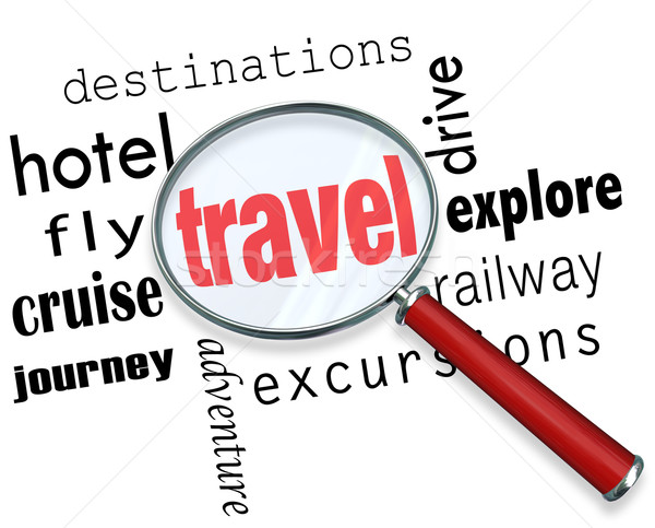 Stock photo: Travel Trip Planning Magnifying Glass Searching Destination Flig