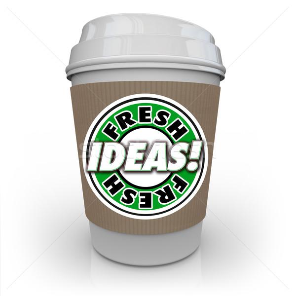 Vers ideeën koffiekopje cafeïne creativiteit verbeelding Stockfoto © iqoncept