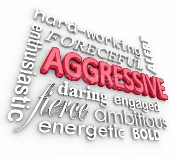 Agresywny 3D słowa tekst litery biały Zdjęcia stock © iqoncept