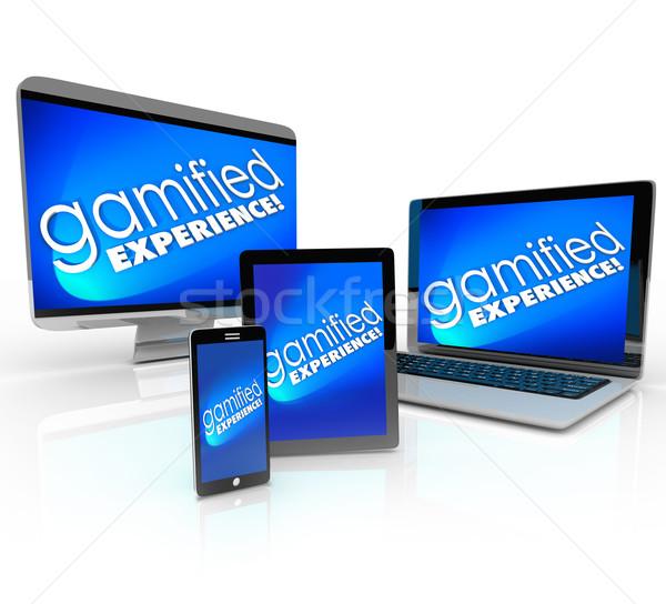 Deneyim bilgisayar dizüstü bilgisayar masaüstü telefon tablet Stok fotoğraf © iqoncept