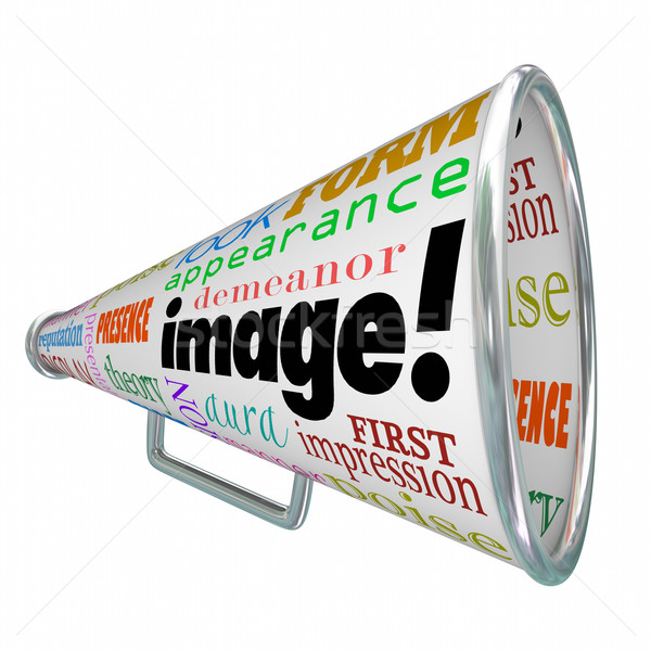 Image Word Bullhorn Megaphone Appearance Impression Stock photo © iqoncept