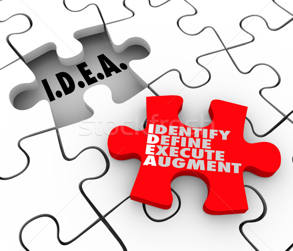 Idea Identify Define Execute Augment Acronym Puzzle Piece Solve  Stock photo © iqoncept