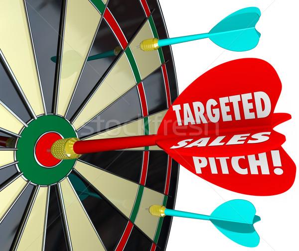 Verkoop toonhoogte dart boord bevinding Stockfoto © iqoncept