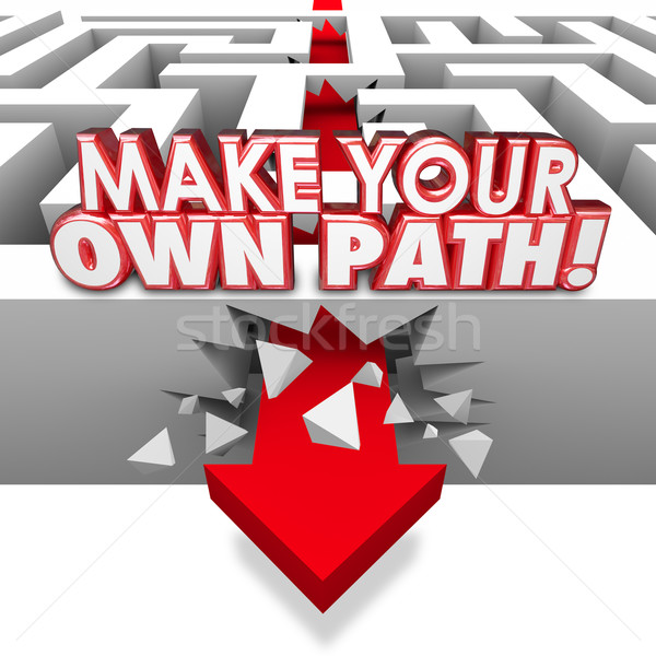Make Your Own Path Arrow Through Maze Independent Original Route Stock photo © iqoncept