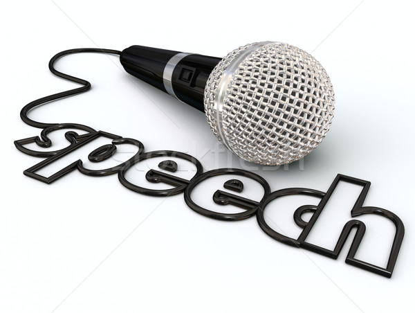 Speech Word Microphone Cord Public Speaking Presentation Stock photo © iqoncept