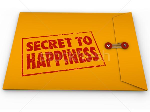 Secret to Happiness Yellow Envelope Tips Advice Enjoy Life Stock photo © iqoncept