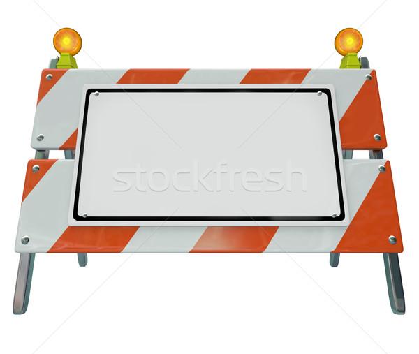 Barricar construção placa sinalizadora cópia espaço assinar ilustrar Foto stock © iqoncept