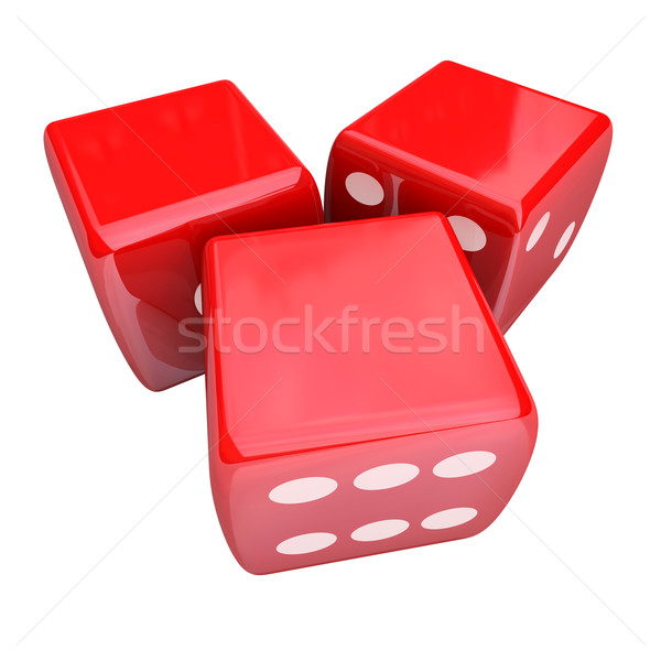 Three Red Dice Rolling Taking Chance Gamble Game Casino 3 Blank  Stock photo © iqoncept
