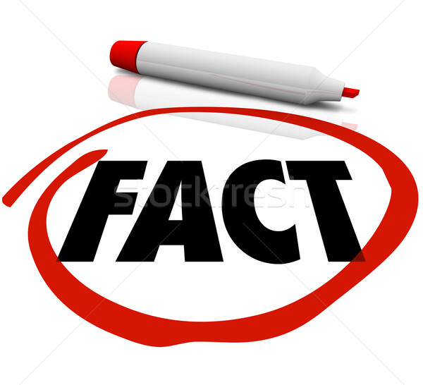 Fact Word Circled Red Marker Stock photo © iqoncept