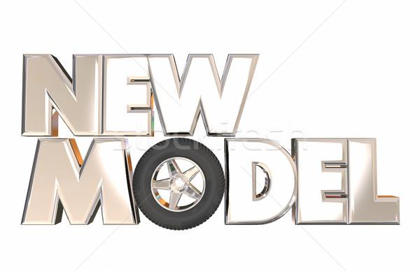 New Model Vehicle Car Design Unveil 3d Word Wheel Stock photo © iqoncept