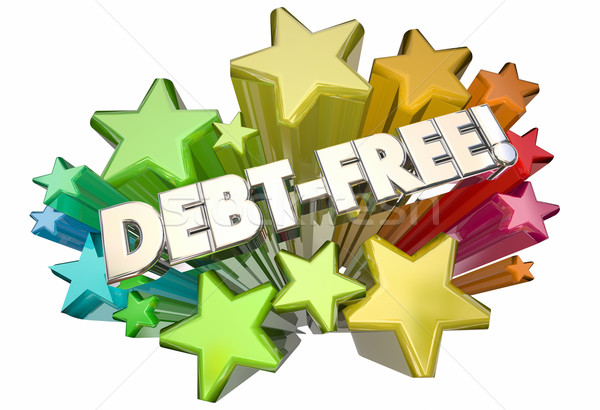 Debt Free Forgiveness Money Owed Stars Words 3d Illustration Stock photo © iqoncept