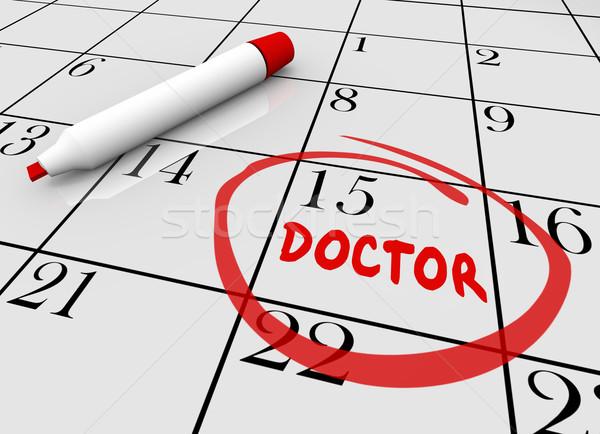 Orvos találkozó egészségügy csekk felfelé naptár Stock fotó © iqoncept