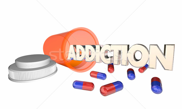 Addiction Drug Abuse Prescription Pill Bottle Word 3d Illustrati Stock photo © iqoncept