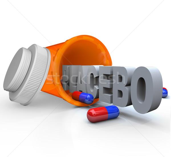 Vényköteles gyógyszer üveg placebo kapszula szó nyitva Stock fotó © iqoncept