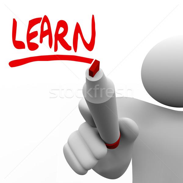 Apprendre mot écrit homme marqueur enseignement Photo stock © iqoncept