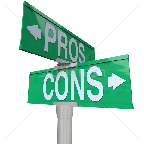Pros and Cons Two-Way Street Signs Comparing Options Stock photo © iqoncept