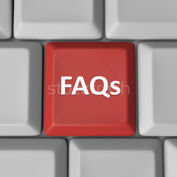 FAQs Red Computer Keyboard Key Frequently Asked Questions Stock photo © iqoncept