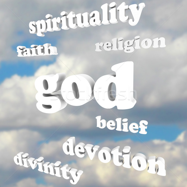 God Spirituality Words Religion Faith Divinity Devotion Stock photo © iqoncept