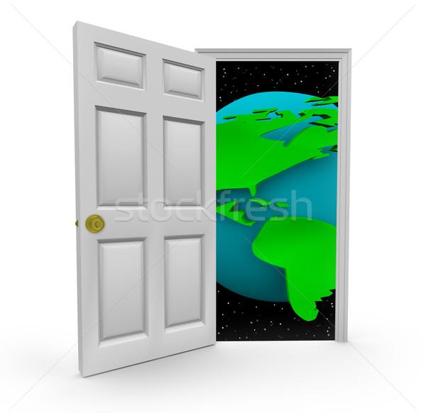 Puerta mundo puerta abierta negocios mundo Foto stock © iqoncept