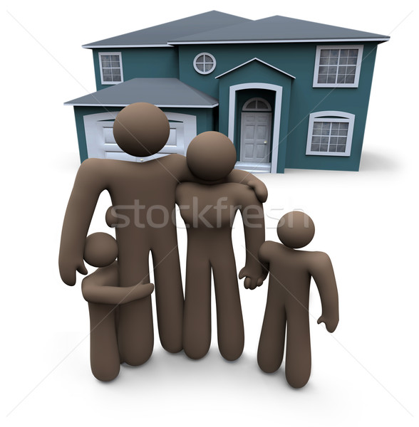 Family Stands in Front of House Stock photo © iqoncept