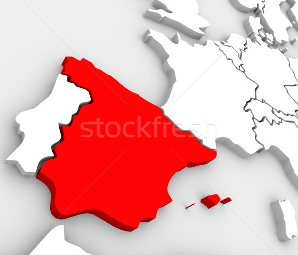 Spain Abstract 3D Map Country Nation in Europe Stock photo © iqoncept