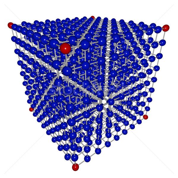 Cube matrice sphères bleu rouge réseau Photo stock © iqoncept