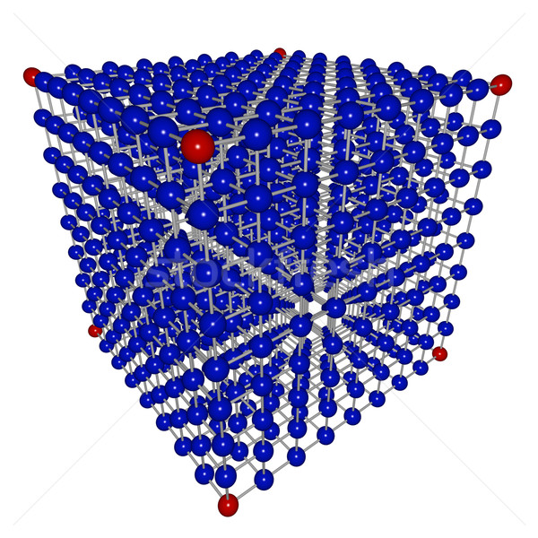 Würfel Matrix Sphären blau rot Vernetzung Stock foto © iqoncept