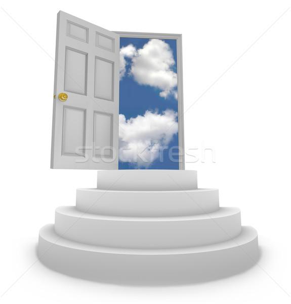 Open deur nieuwe stappen woorden vertrouwen Stockfoto © iqoncept
