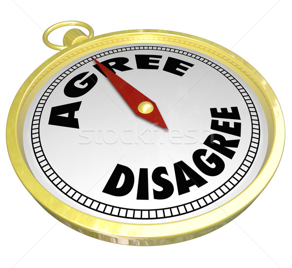 Agree Vs Disagree Words Compass Vote Consensus Decision Stock photo © iqoncept