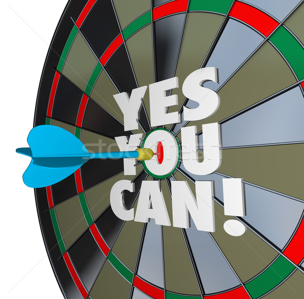 Yes You Can Words Dartboard Successful Win Stock photo © iqoncept