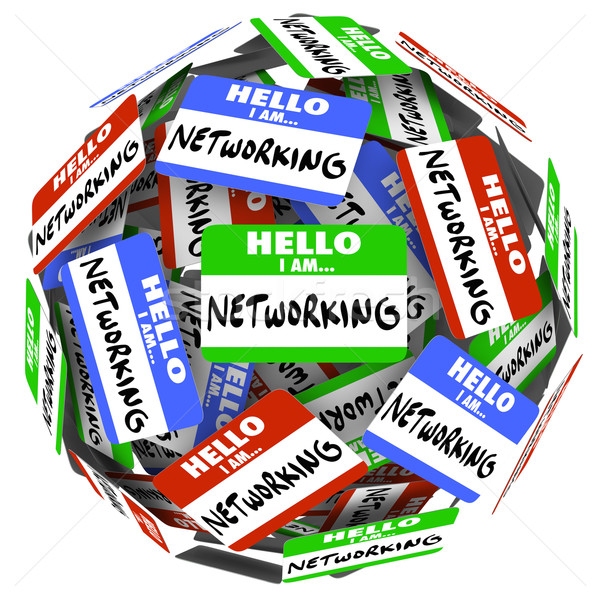 Networking Name Tag Sticker Ball Sphere Meet Greet New Opportuni Stock photo © iqoncept