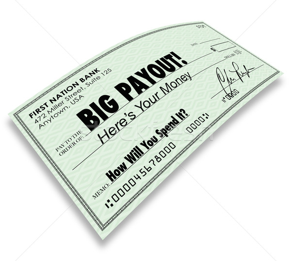 Big Payout Check Money Earnings Salary Commissions Stock photo © iqoncept