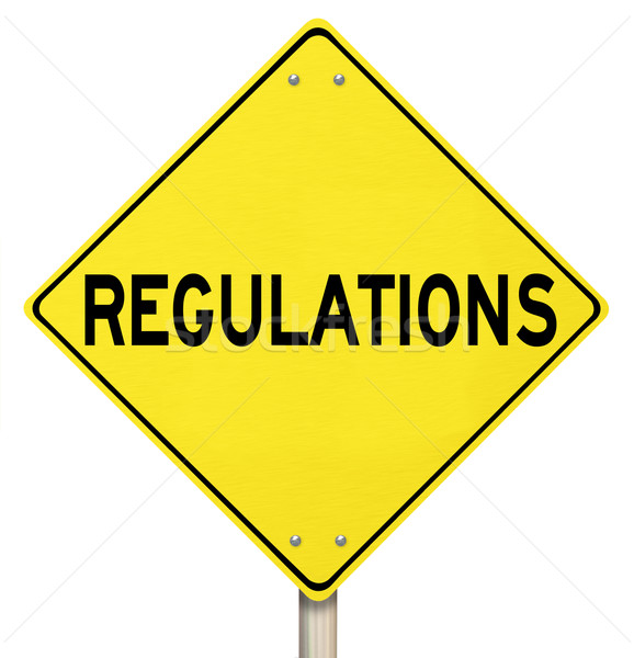 Regulations Yellow Warning Yield Sign Beware Rules Laws Stock photo © iqoncept