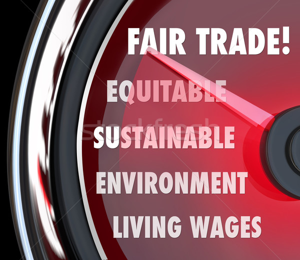 Stock photo: Fair Trade Speedometer Measuring Import Export Equity Products
